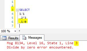 Msg 8134, Level 16, State 1, Line 1 Divide by zero error encountered.