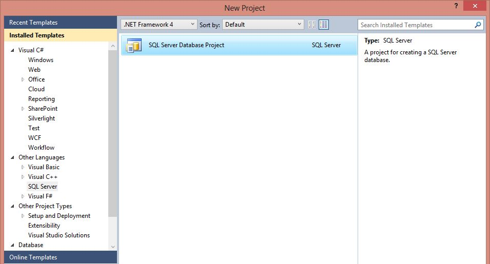 SSDT Project Template in Visual Studio