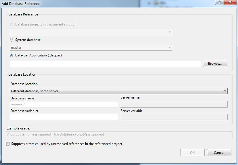 SSDT Add Database Reference Options Dialog