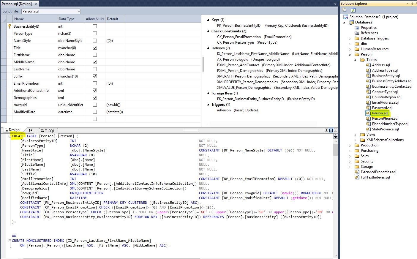 SSDT Design Mode And T-SQL Mode