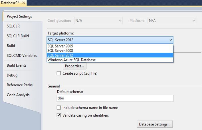 SSDT Project Settings Target Platform