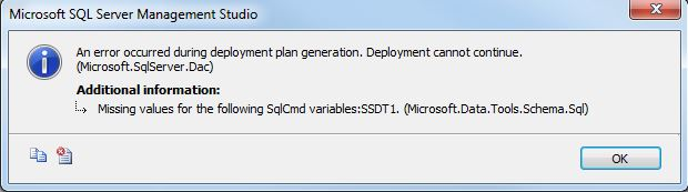 SSDT Upgrade Database Dont Work With Variables