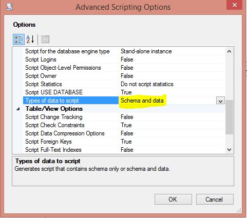 Generate And Publish Scripts Advanced Options