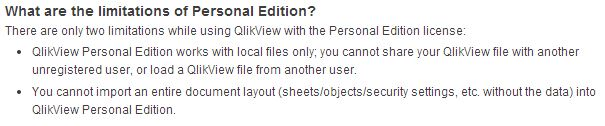 QlikView Personal Edition Limitations