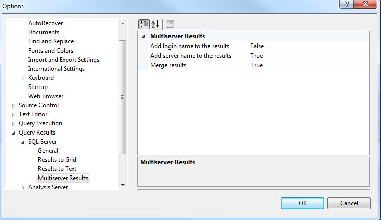 Multi Server Results Options