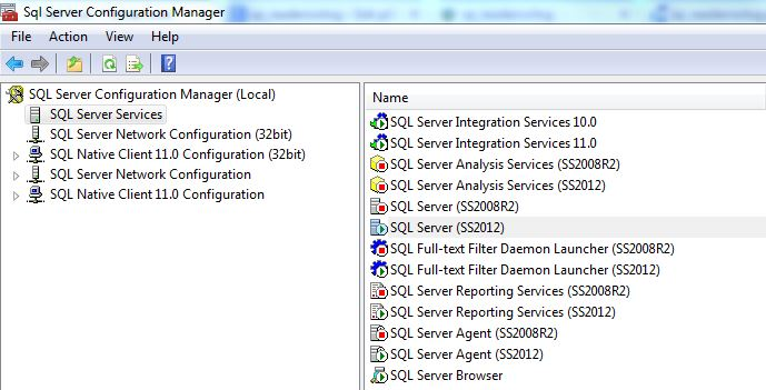 SQL Server Configuration Manager SQL Server Services