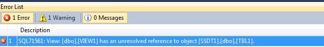 SSDT Error 71561