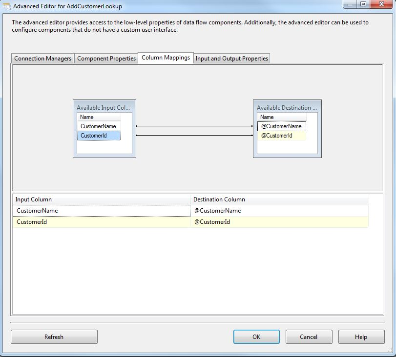 SSIS OLE DB Command Column Mappings