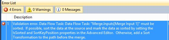 SSIS Merge Data Not Sorted
