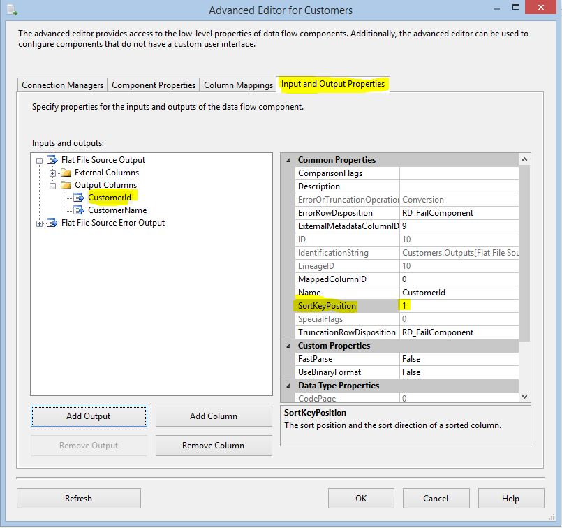 SSIS SortKeyPosition Property