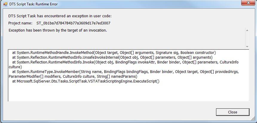 DTS Runtime Error UnsafeInvokeInternal