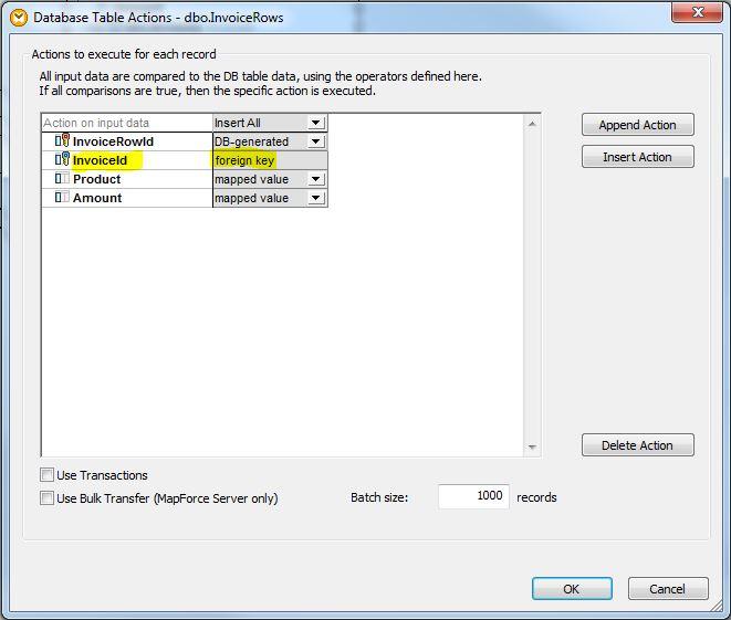 Mapforce Database Table Actions