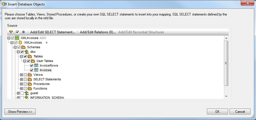 Mapforce Insert Database Objects