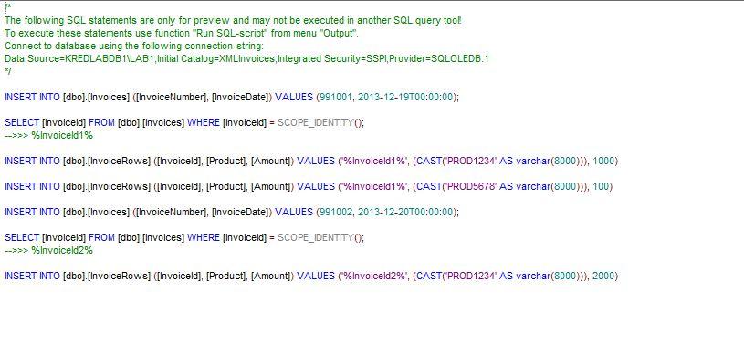 Mapforce SQL Output