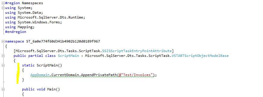 SSIS Script Task Static Script Main Method