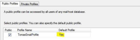 Database Mail Default Profile