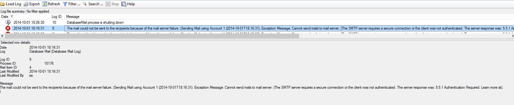 Database Mail Error