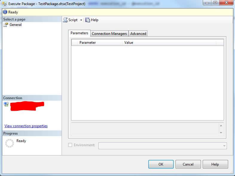 SSISDB Execute Package Dialog