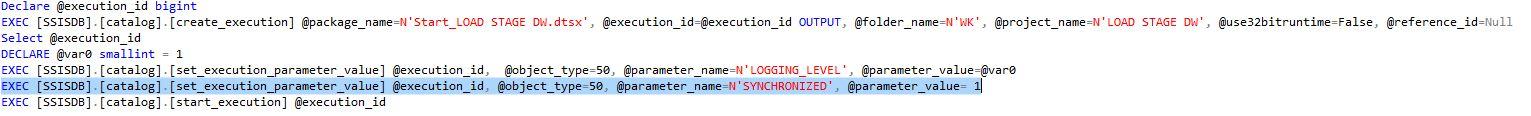 create_execution Script Synchronized Parameter